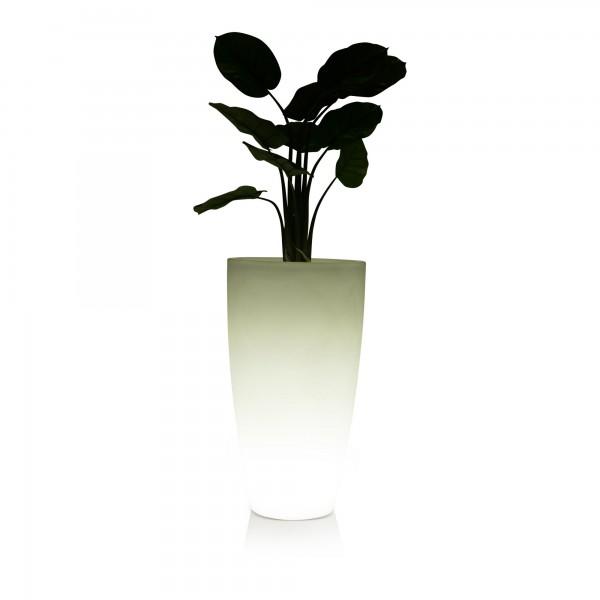 Vase - Pflanzkübel TUBO LUZ 90 Kunststoff LED weiß | Nakuba.de
